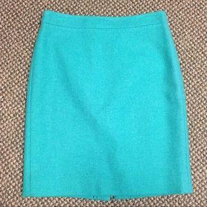 J Crew 4 green wool blend the Pencil Skirt